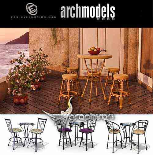 مجموعه مدل های 3 بعدی آماده میز و صندلی رستوران